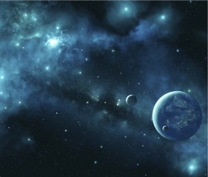 Black space background against beautiful light green blue planets, stars, and nebulae