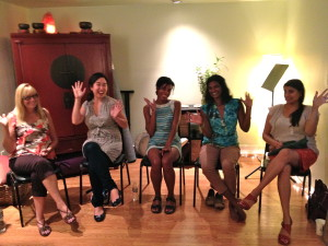 Happy smiling Singing For Your Soul voice class ladies waving at the camera